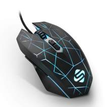 Computer Gaming Mouse Wired, Light Up Mouse for Laptop with Avago Processor, Adjustable DPI up to 4000, 7 Buttons, Ergonomic PC Gamer Mouse for Windows/Mac/Linux/Sega Nintendo