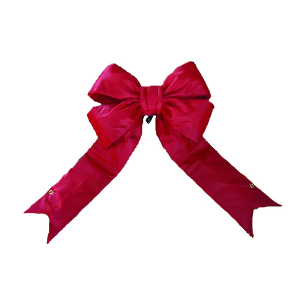 "Vickerman 24"" Red Nylon Decorative Christmas Bow, Indoor and Outdoor Use"