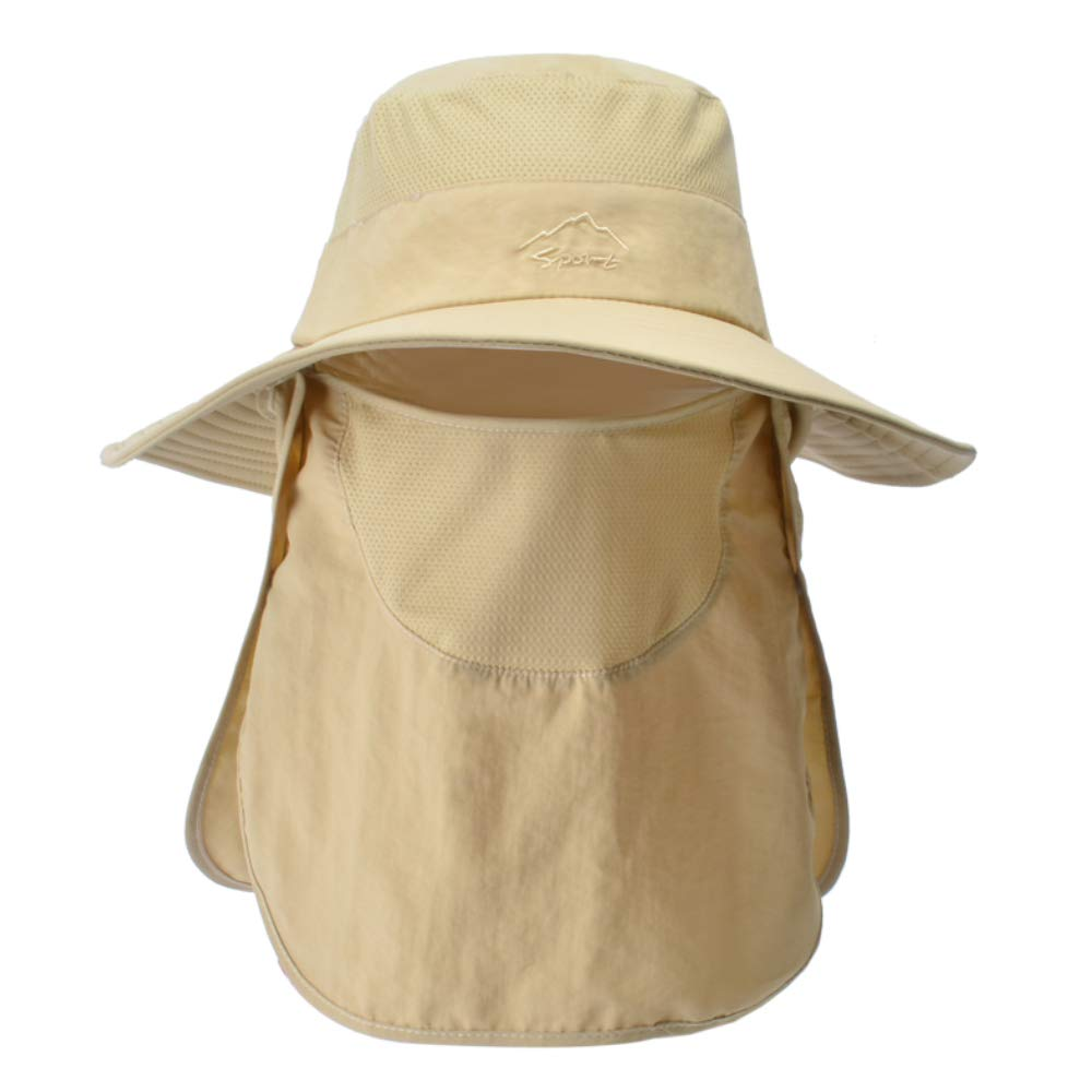 Mens Outdoor Sun Hat with Wide Brim and Face Neck Flap UV Protection for Fishing Hiking Garden