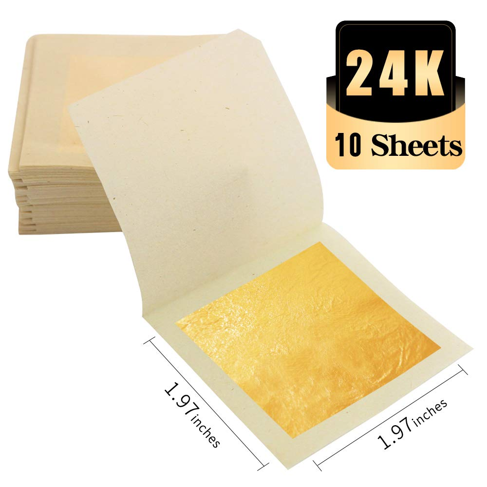 KINNO Edible 24K Gold Foil Leaf Sheets, 10 Sheets Real Gold for Cooking, Cakes & Chocolates, Decoration, Health & Spa (5 cm)