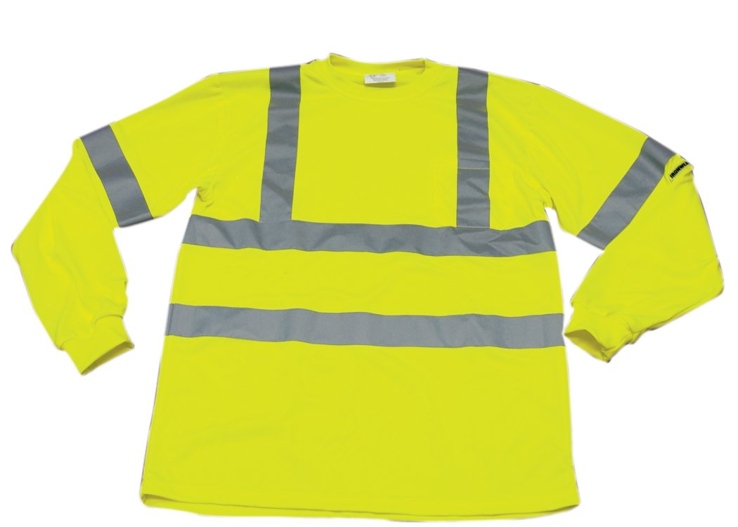 """Ironwear 1204-L-TP-2-MD ANSI Class 3 Polyester Long Sleeve Crew Neck SAFETY Shirt with Pocket & 2"""" Silver Reflective Tape, Lime, Medium"""