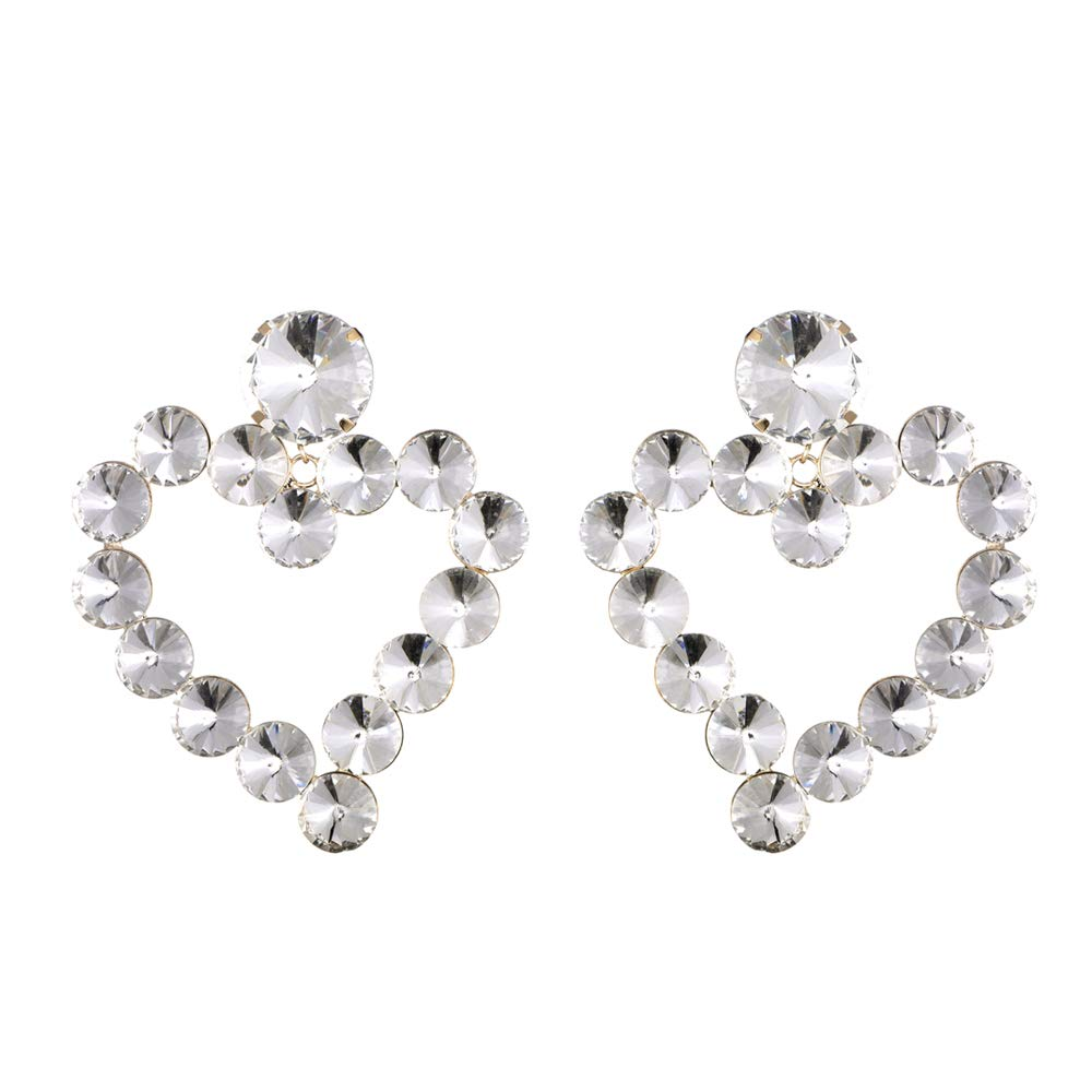 Sparkly Crystal Rhinestone Large Heart Shape Drop Earrings Model Show Party Fashion Accessories KELMALL COLLECTION