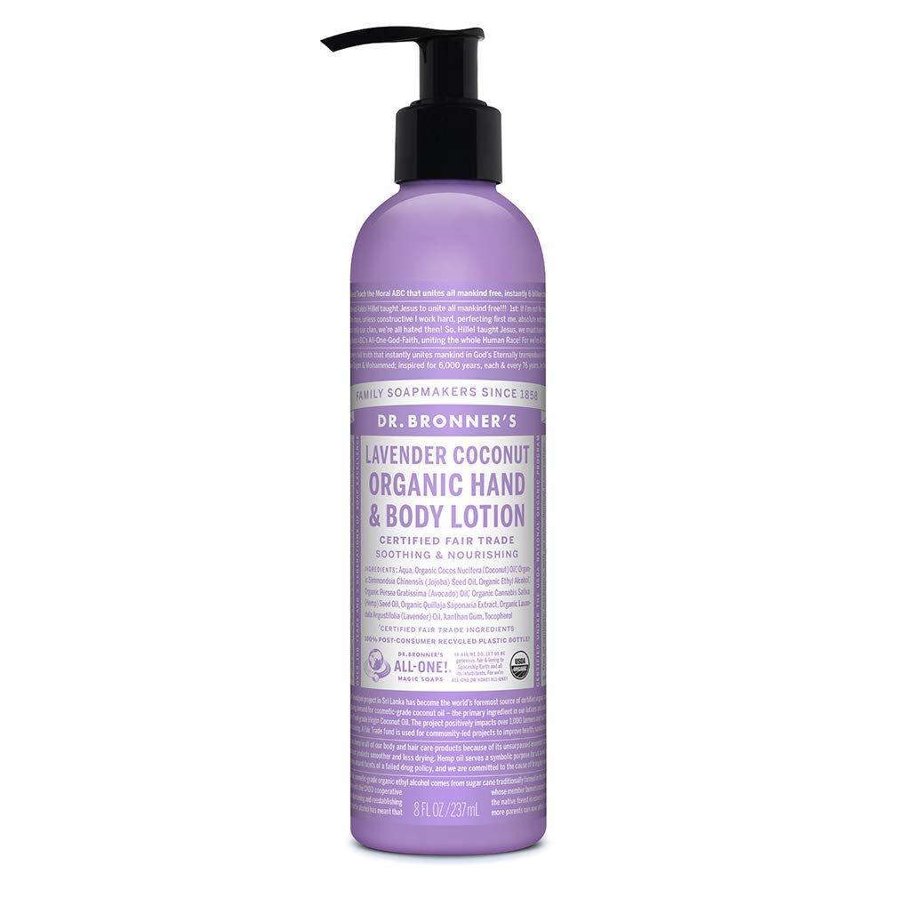 Dr. Bronner's - Organic Lotion (Lavender Coconut, 8 Ounce) - Body Lotion and Moisturizer, Certified Organic, Soothing for Hands, Face and Body, Highly Emollient, Nourishes and Hydrates, Vegan, Non-GMO