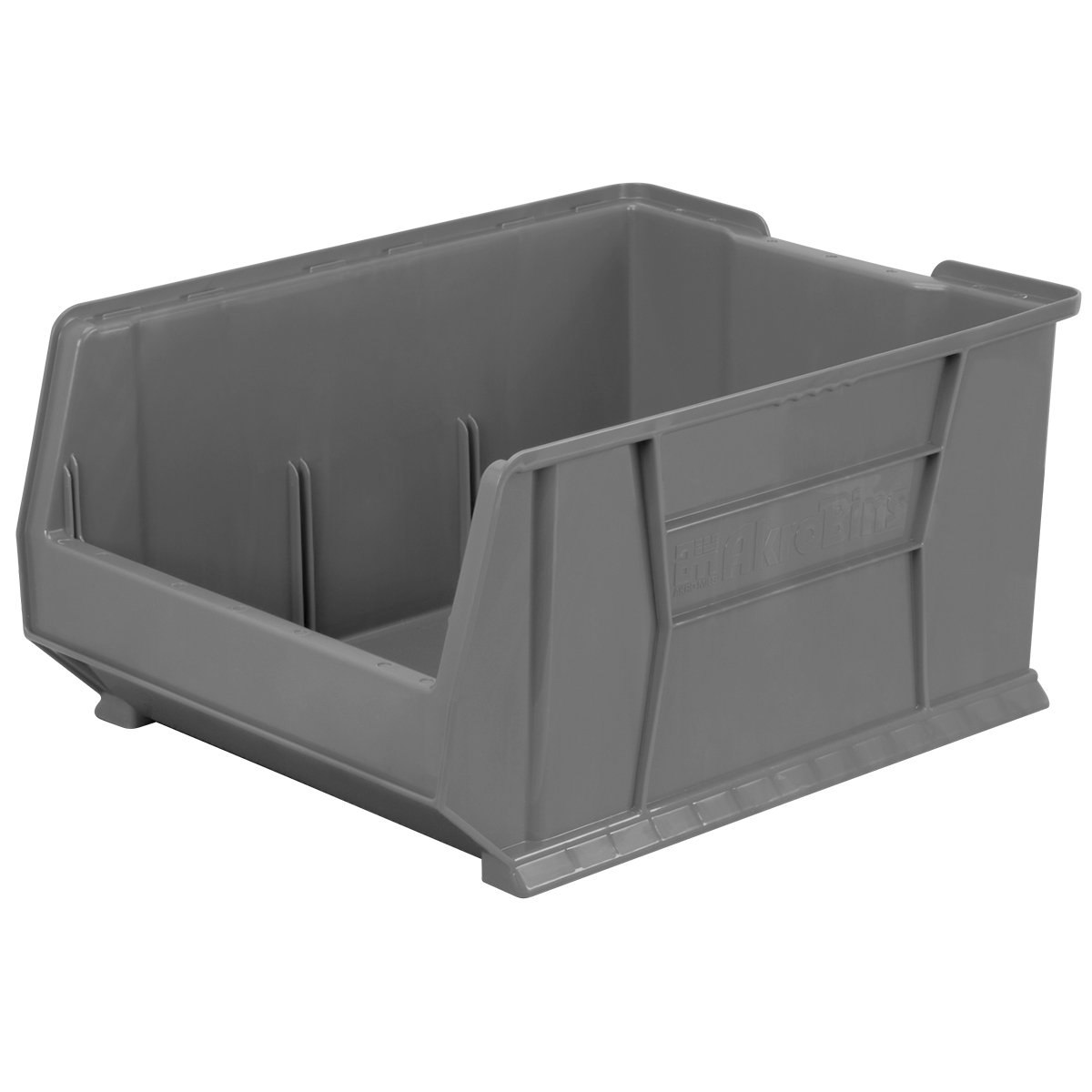Akro-Mils 30289 Super-Size AkroBin Heavy Duty Stackable Storage Bin Plastic Container, (24-Inch L x 18-Inch W x 12-Inch H), Gray, (1-Pack)