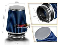 "BLUE 3.5"" 89mm Inlet Narrow Air Intake Cone Replacement Quality Dry Air Filter"