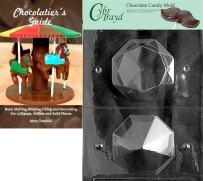 """Cybrtrayd""""Large 3D Diamond"""" Wedding Chocolate Candy Mold with Chocolatier's Guide"""