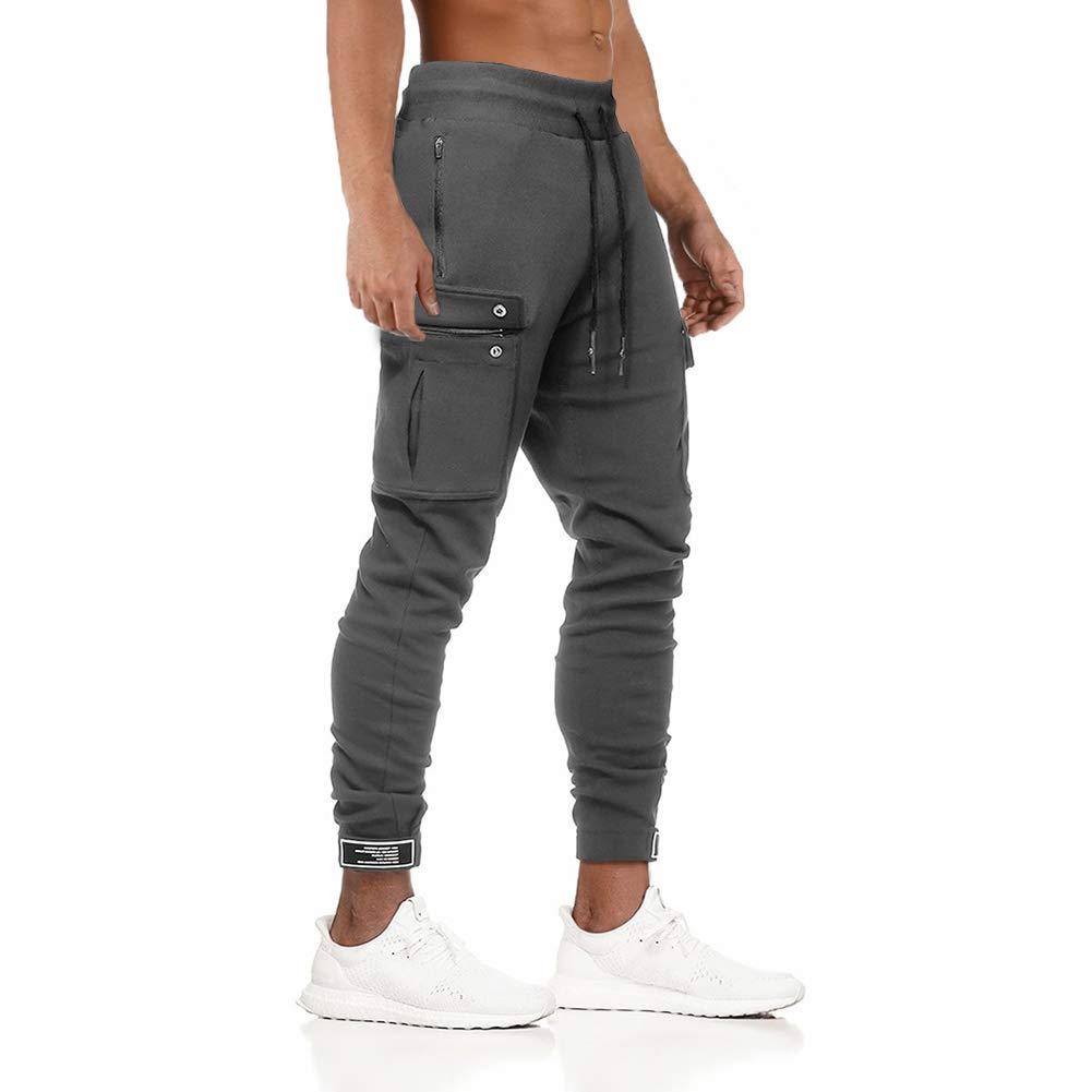 MECH-ENG Men's Gym Training Sports Jogger Pants Slim Fit Training Sweatpants with Zipper Pocket