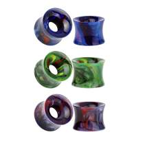 TBOSEN 3 Pairs Colorful Acrylic Double Flare Ear Gauges Tunnels Plugs Set 2g(6mm)- 9/16 inch (14mm)