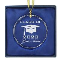 LaserGram Christmas Ornament, Grad Cap Class of 2020, Personalized Engraving Included (Round Shape)