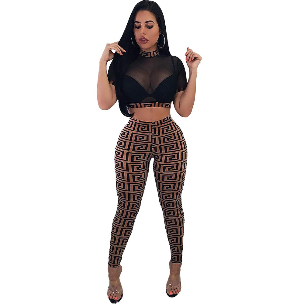 Women 2 Pieces Outfits Sexy Sheer Mesh Crop Top Stretchy High Waist Pencil Pants Night Club Jumpsuit Set