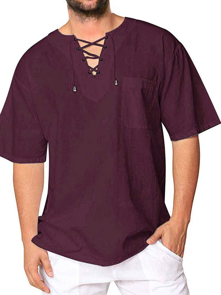 Mens Cotton T Shirt Casual Short Sleeve Beach Hippie Yoga Tees Plain Drawstring Lace-up Summer Tops