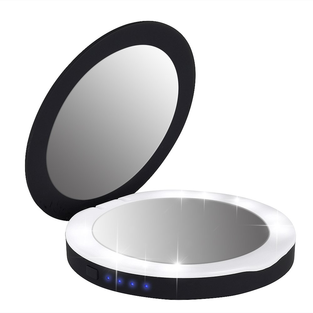 MINI LOP Compact Power Bank Makeup Mirror with 3000mAH Battery Charger, Portable LED Lighted Illuminated Mirror 1x/3X Magnification Mirrors (Black)