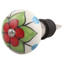 IndianShelf 2 Piece Handmade Red Ceramic Flower Air Tight Wine Sealer Cork Stopper Bottle Cap