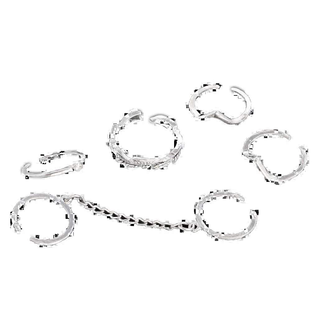 CosMos777 6pcs Per Lot Shiny Punk Style Gold Color Stacking Midi Finger Knuckle Charm Leaf Ring