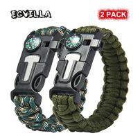 ECVILLA Paracord Bracelet, Survival Bracelet with Compass, Fire Starter, Emergency Knife & Whistle EDC Hiking Gear- Camping Gear