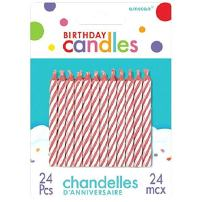 Pink Candy Stripe Spiral Birthday Candles | Pack of 24 |Party Supply