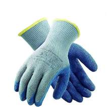 TARANTULA Pack of 12 Pairs Nylon Precision Protective Safety Work Gloves, 10 gauge Grey Poly cotton Shell, Blue Crinkle Latex on Palm and Fingers, 7 Inch