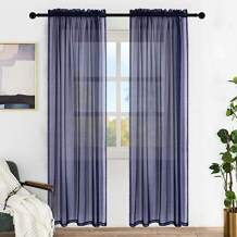 """Lofus Sheer Window Curtains, Rods Pocket Voile Fabric Drapes/Panels/Treatments for Living Room/Kitchen/Bedroom, 52"""" x 96"""", Set of 2, Navy Blue"""