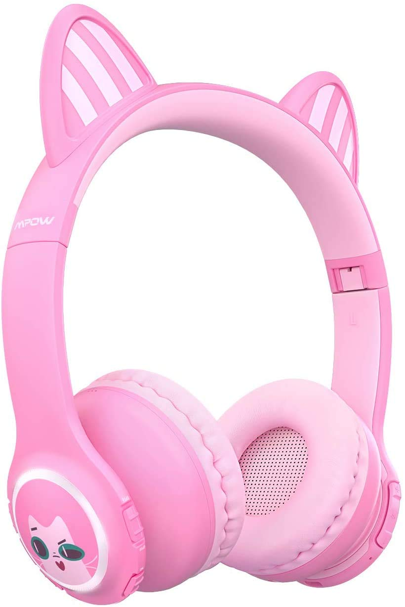 Mpow Kids Headphones, Bluetooth 5.0 Headphoneswith Cat Ear, 85dB/95dB Volume Limiting, Wireless Foldable Headset with Mic, LED Lights, 14H Playing Time for iPhone/iPad/Kindle/Laptop/Travel/School