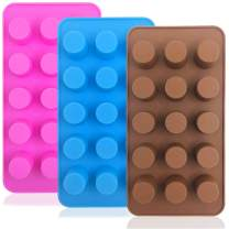 3 pcs Silicone Candy Molds, FineGood Fat Bombs Chocolate Molds Ice Cube Trays Cookies Baking Pans - Chocolate, Pink, Blue