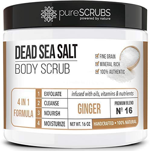 pureSCRUBS Dead Sea Salt Scrub, Exfoliating Body Scrub, Large 16oz GINGER BODY SCRUB