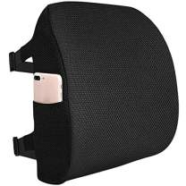 Fyore Lumbar Pillow Memory Foam Back Support Cushion with Anti-Slip Particles Designed for Lower Back Pain Relief Back Pillow 2 Adjustable Straps for Computer/Office Chair,Car Seat,Recliner(Black)