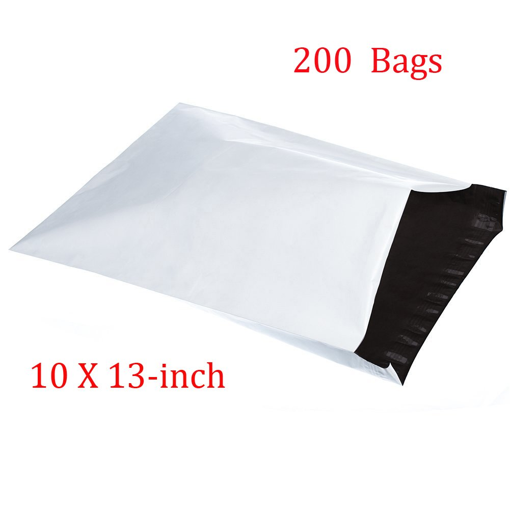 SJPACK 10x13-inch Poly Mailers 200pcs 2.5 Mil Envelopes Bags with Self-Sealing Strip White Poly Bags