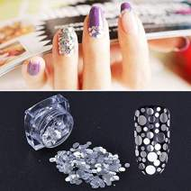 MEILINDS 12 Colors Mixed Shape Glass Paper Nail Flakies Paillette Nail Art Glitter Sequins Flakes Tips