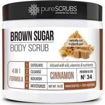 pureSCRUBS Premium Organic Brown Sugar CINNAMON FACE & BODY SCRUB Set - Large 16oz, Infused With Organic Essential Oils & Nutrients + FREE Wooden Spoon, Loofah & Mini Exfoliating Bar