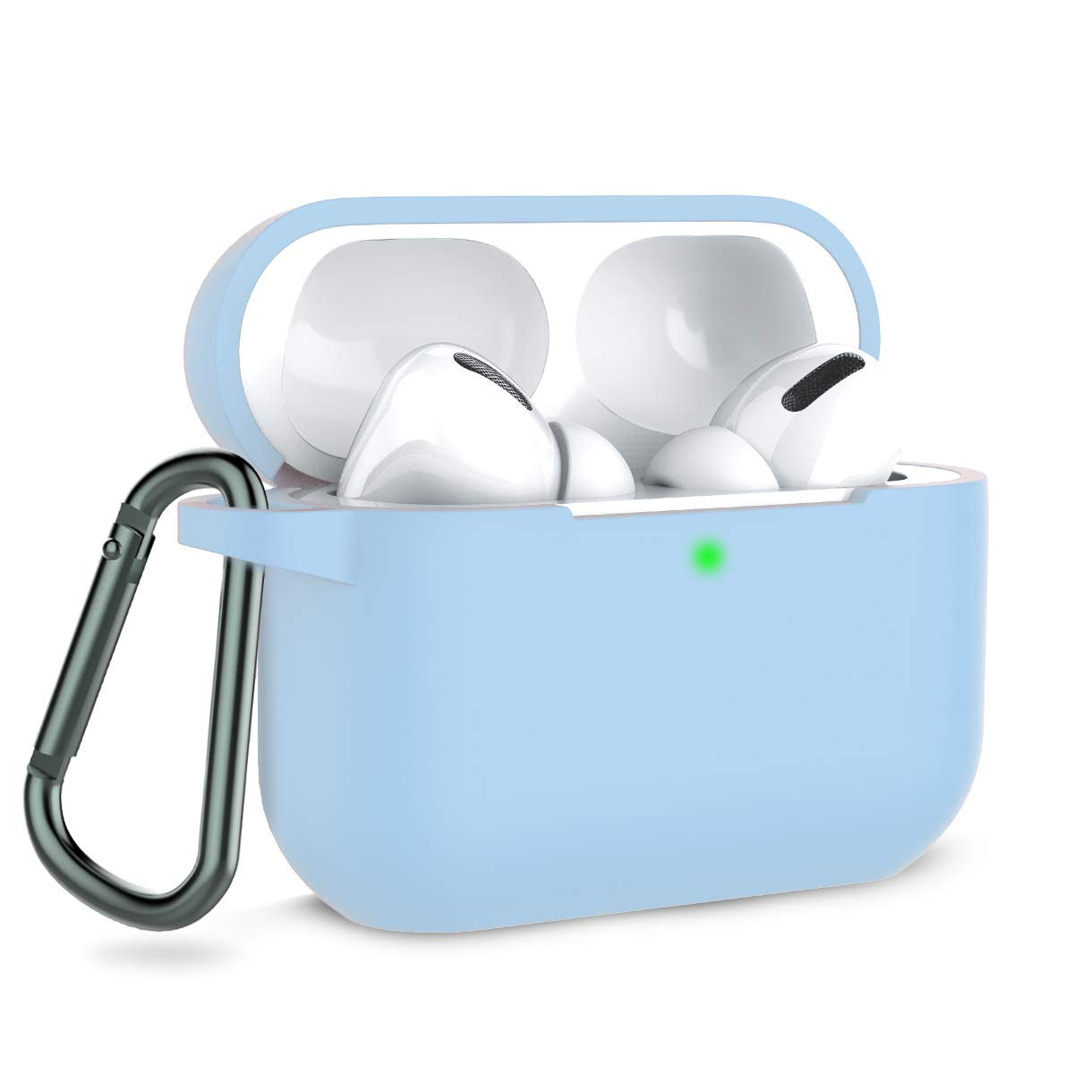 Coffea AirPods Pro Case with Keychain, AirPods 3 Protective Cover Silicone Case for AirPods Pro Charging Case (Front LED Visible) (Sky Blue)