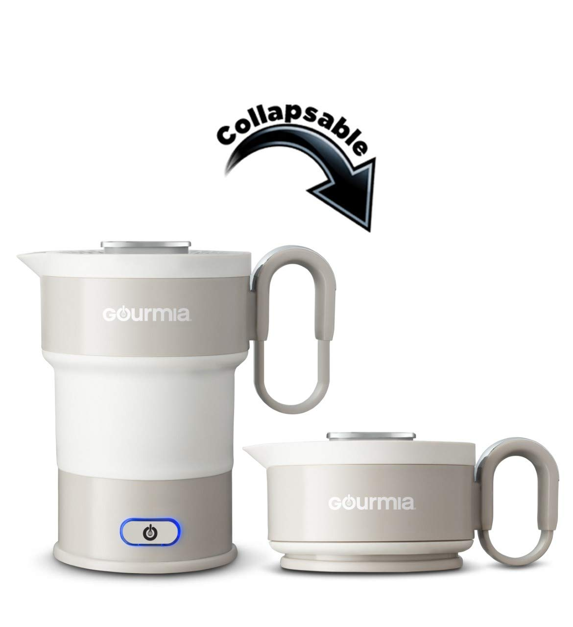Gourmia GK348 Electric Collapsible Travel Kettle - Foldable & Portable - Fast Boil - Easy Storage - Water Boiler For Coffee, Tea & More - Food Grade Silicone - Boil Dry Protection -20 oz capacity - Grey