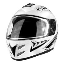 Full Face Motorcycle DOT Approved Helmet Gloss White & Black