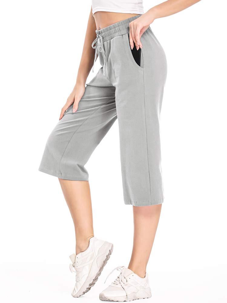 linlon Women's Active Yoga Relax Lounge Capri Pants with Pockets
