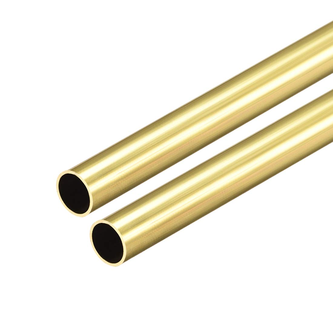 uxcell Brass Round Tube, 300mm Length 9mm OD 0.5mm Wall Thickness, Seamless Straight Pipe Tubing 2 Pcs