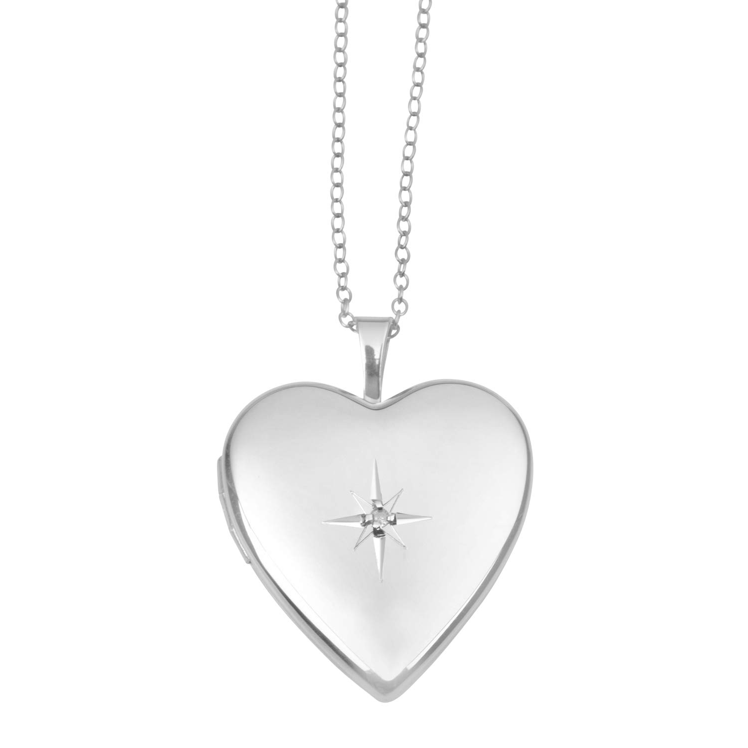 Sterling Silver and Diamond Heart Shape Polished Starburst Locket Pendant with Chain for Women