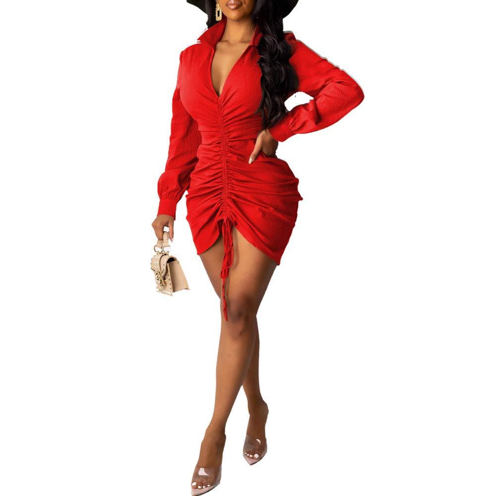 acelyn Women's Sexy Mini Dress - Collar Long Sleeve V Neck Ruffle Casual Club Dresses Red Medium