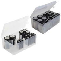Battery Storage Box Organizer Pack of 2 Cases. Stores AAA, AA, C and D Size. Holds up to 34 Batteries per Pack. by Massca