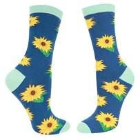 Zmart Women's Novelty Crazy Flower Crew Sock, Fun Lily Sunflower Rose Lotus Sock