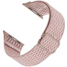 GZ GZHISY Sport Bands Compatible with Apple Watch 38mm 40mm 42mm 44mm iWatch Series 6 5 SE 4 3 2 1 Strap, Women Men Nylon Solo Loop Adjustable Stretchy Braided Elastic Bracelet, 42mm 44mm Rose Pink