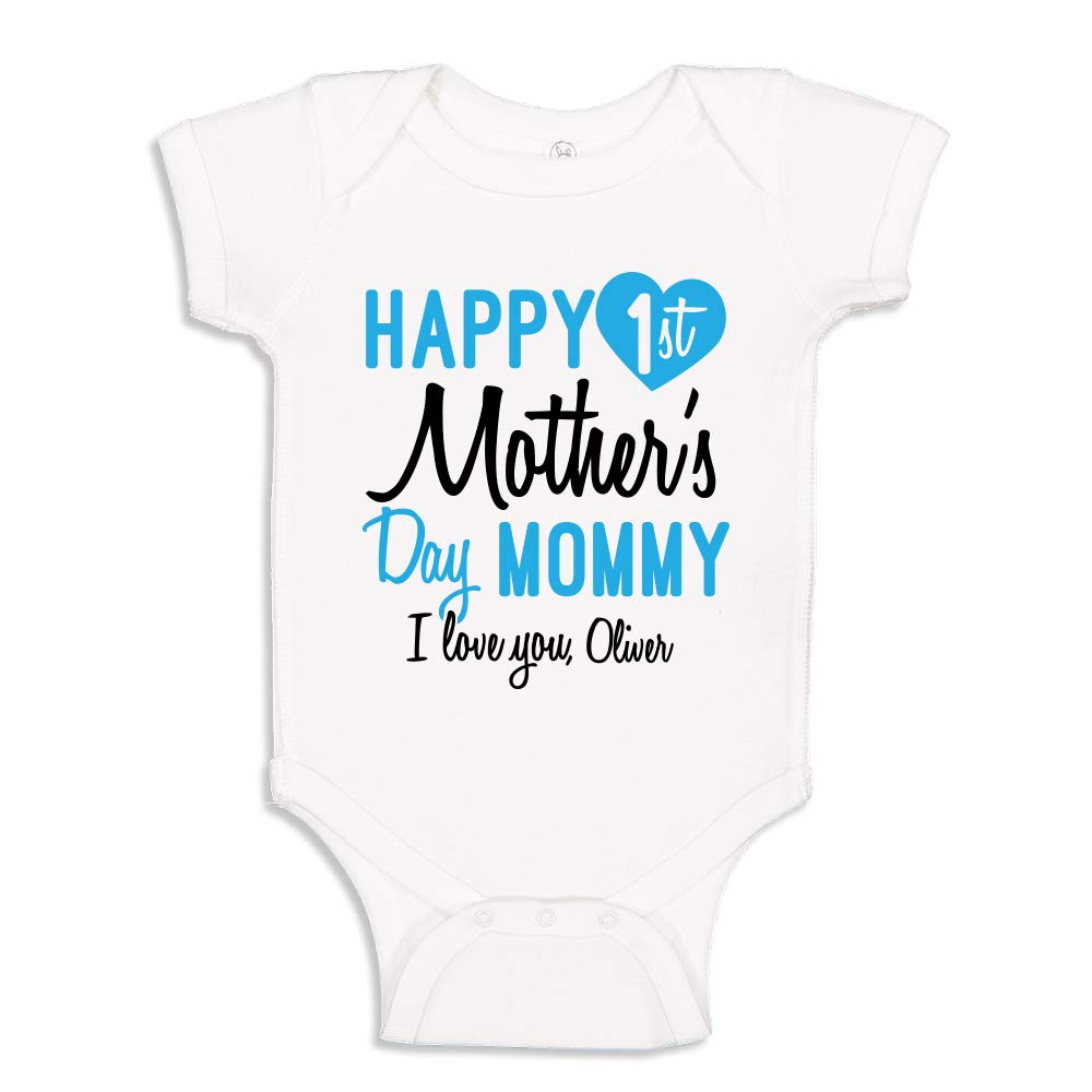 Happy 1st Mother's Day Cute Baby Bodysuit with Custom Personalized Name