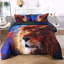Imiee Lion Head and Blue Galaxy Print Comforter Sets 3 Pieces, Twin/Full/Queen Quilted Bedspread/Quilt Comforter/Quilt Bedding Sets