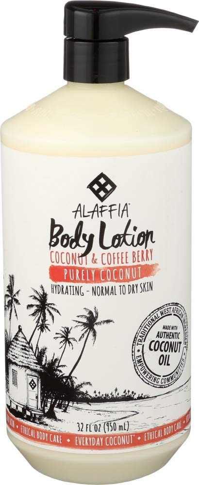 Alaffia Everyday Coconut Hydrating Body Lotion, Normal to Dry Skin, Moisturizing Support for Soft & Supple Skin, Purely Coconut, 32 oz