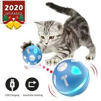 Automatic Cat/Dog Toy - Pet Feathers cat toys - pets Toys Wicked Balls - USB Charging or AA Battery Operated, Interactive Cat Chase Toy - Auto Shut Off and Silent - Kitten/Dog Owner's Gift Idea