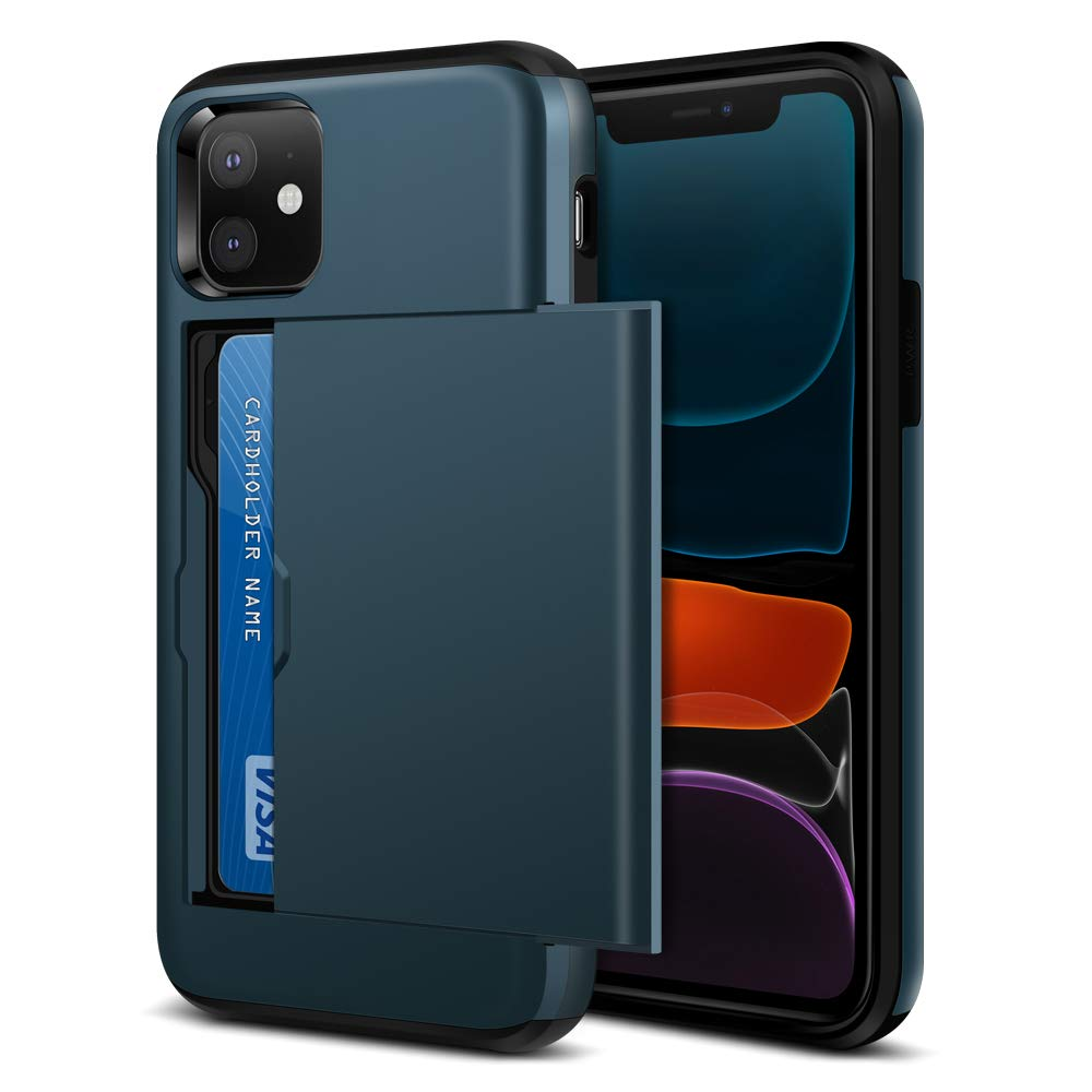 Jiunai iPhone 11 Case, iPhone 11 Phone Case Slim Card Holder Sliding Cover Wallet for Credit Card IDs Dual Layer Shockproof Non Slip Anti Scratch Hard PC Cover Cases for iPhone 11 6.1 inches 2019 Navy