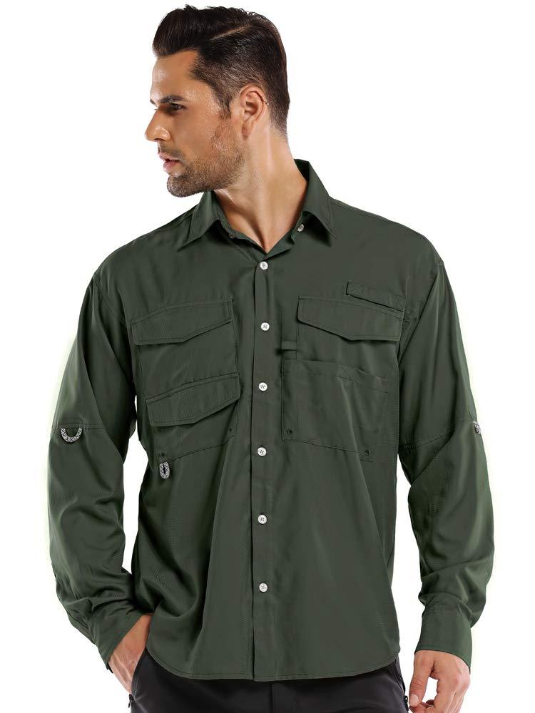 Mens Quick Dry Sun UV Protection Convertible Roll-Up Long Sleeve Shirts for Hiking Camping Fishing Sailing