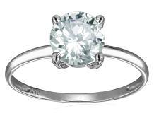 Star K Solid 10k White Gold Round 7mm Solitaire Promise Ring