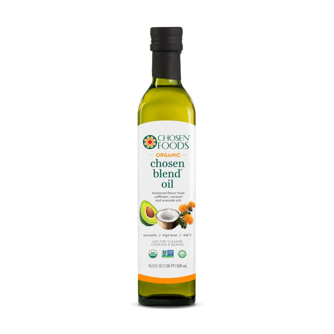 Chosen Foods Organic Chosen Blend Oil 16.9 oz. (6 Pack), Non-GMO for High-Heat Cooking, Baking and Frying, 490°F Smoke Point