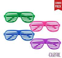 CUZAIL Party Favor Shutter Shade - Costumes - Eye Wear - Sunglasses for Kids Teens Adults - Party Props - Pack of 12 Assorted Neon Colors