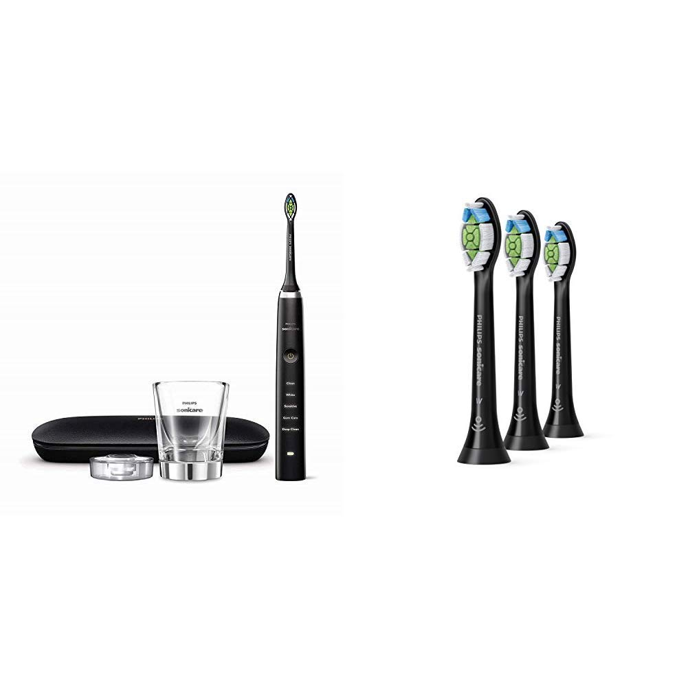Philips Sonicare Diamond Clean Classic Rechargeable Electric Toothbrush Black with replacement toothbrush heads, Bundle