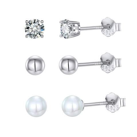 Gift Women Earring Earring Set 3 Pairs Hypoallergenic Earring Lightweight Earring-Jewellery Earring Stud druzy Stainless Steel Earrings